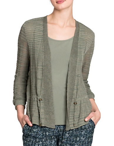 Nic+Zoe Cinched Knit Cardigan-OLIVE-X-Small