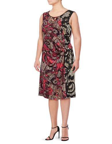 Nic+Zoe Plus Printed Knot-Front Sheath Dress-MULTI-1X