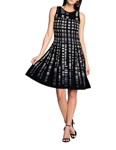 Nic+Zoe Crystal Cove Fit-and-Flare Dress-BLACK MULTI-Small
