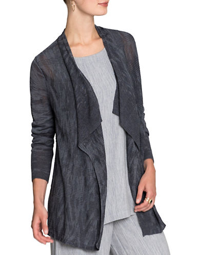 Nic+Zoe Twilight Trench Cardigan-BLUE-Medium