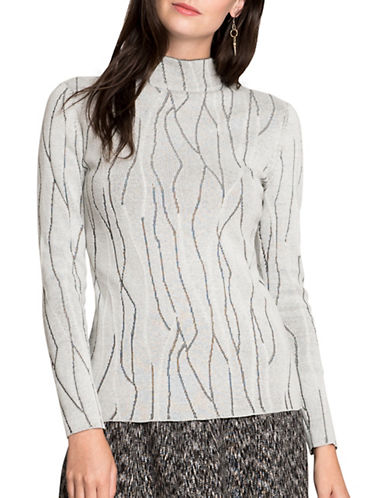 Nic+Zoe Crackle Pattern Sweater-WHITE-X-Large