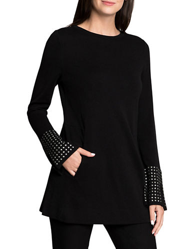 Nic+Zoe Stud Detail Sweatshirt-BLACK-Medium