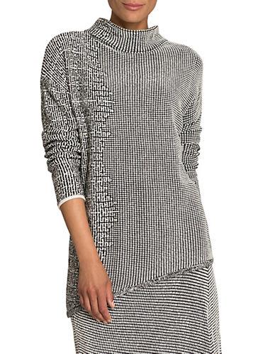 Nic+Zoe Asymmetrical Three-Quarter Sleeve Sweater-MULTI-COLOURED-Large