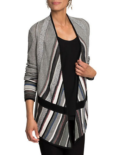 Nic+Zoe Striped Asymmetrical Cardigan-MULTI-COLOURED-Medium