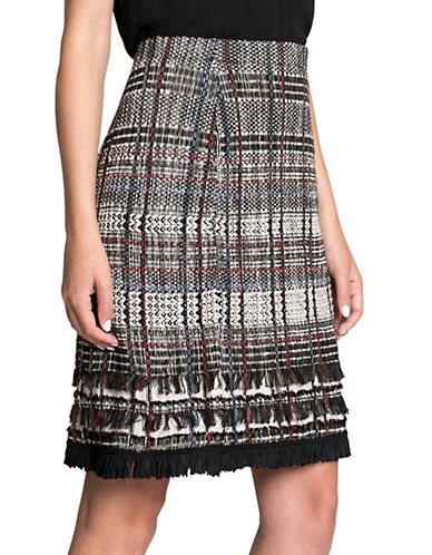 Nic+Zoe Plaid Fringe Pencil Skirt-MULTI-COLOURED-X-Small