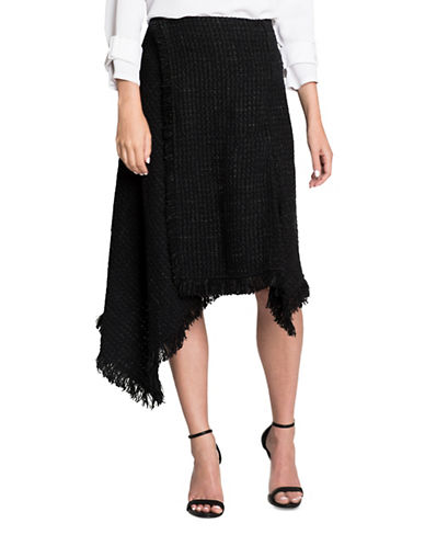 Nic+Zoe Tweed Fringe Skirt-BLACK-Large