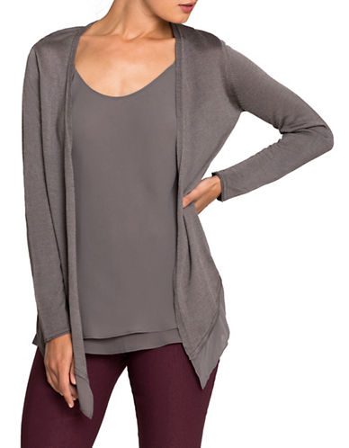 Nic+Zoe Paired Up Cardigan-WARM GREY-X-Small