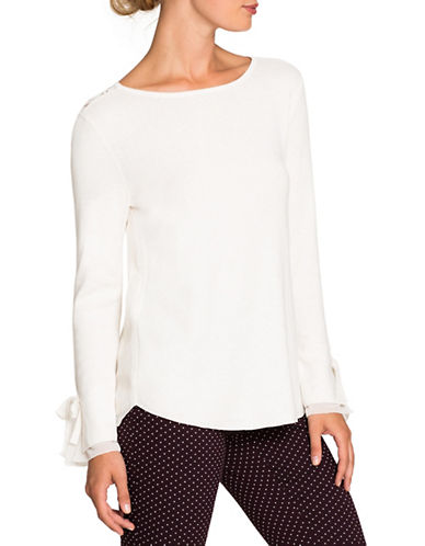 Nic+Zoe Long Bow-Sleeve Top-WHITE-Medium