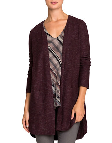 Nic+Zoe Marled Knit Cardigan-WINE-Large