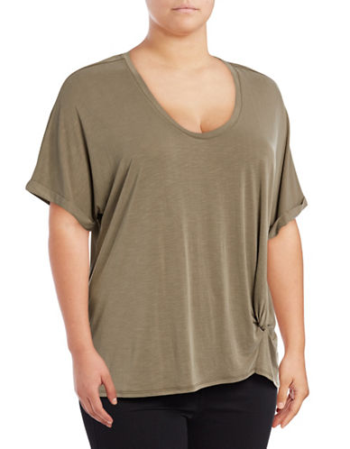 Nic+Zoe Plus Twist-Front T-Shirt-GREEN-1X