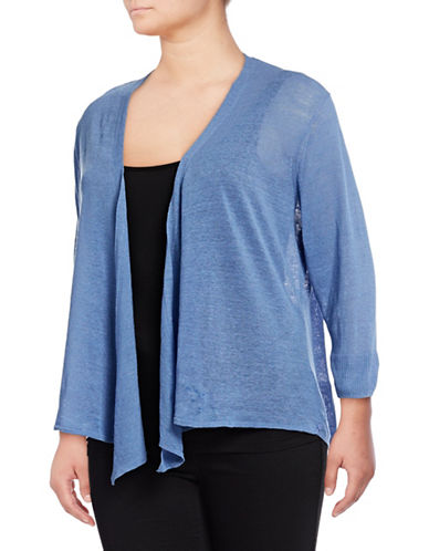 Nic+Zoe Plus Four-Way Convertible Cardigan-BLUE-2X