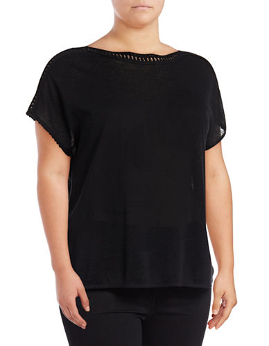 Nic+Zoe Plus Crochet Trim Tee-BLACK-2X