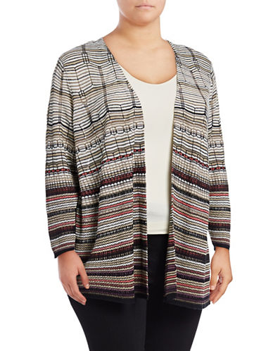 Nic+Zoe Plus Colourscale Linen-Blend Cardigan-MULTI-2X