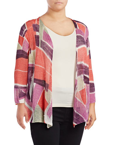 Nic+Zoe Plus Bold Blocked Dolman Cardigan-MULTI-3X