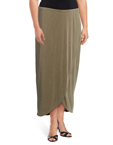 Nic+Zoe Plus Boardwalk Midi Knit Skirt-GREEN-3X
