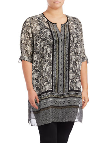 Nic+Zoe Plus Printed Tunic Top-MULTI-3X