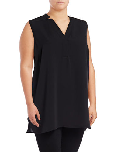 Nic+Zoe Plus Forget Me Not Notched V-Neck Top-BLACK-1X