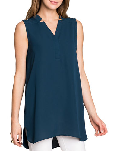 Nic+Zoe Plus Forget Me Not Notched V-Neck Top-BLUE-3X