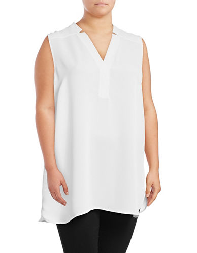 Nic+Zoe Plus Forget Me Not Notched V-Neck Top-WHITE-3X