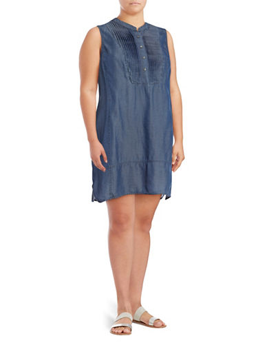 Nic+Zoe Plus Denim Pintuck Dress-DARK INDIGO-1X