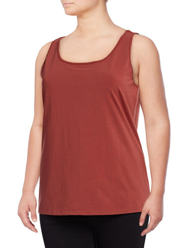 Nic+Zoe Plus Scoop Neck Tank Top-BROWN-3X