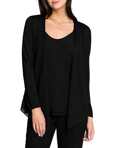 Nic+Zoe PETITE Paired Up Cardigan-BLACK-Petite X-Small