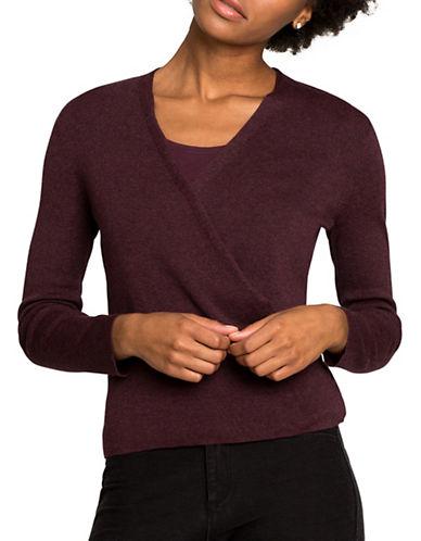 Nic+Zoe PETITE Jersey-Knit Handkerchief Cardigan-WINE-Petite X-Small