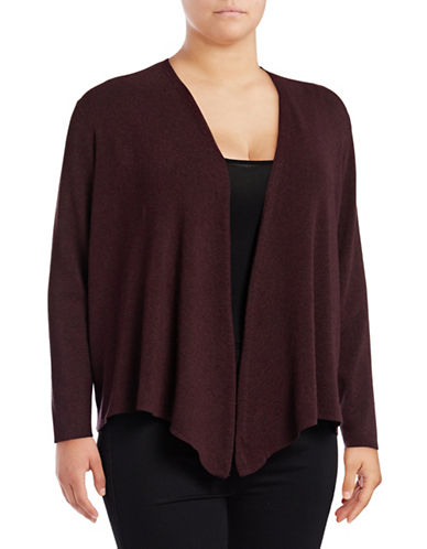 Nic+Zoe Plus Jersey-Knit Handkerchief Cardigan-WINE-1X