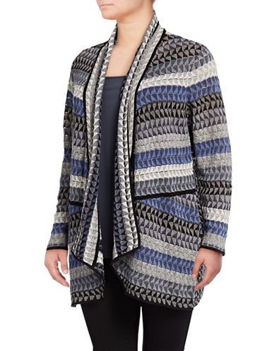 Nic+Zoe Plus Triangle Bliss Linen-Blend Cardigan-BLUE MULTI-1X