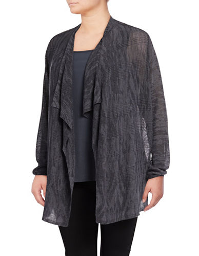 Nic+Zoe Plus Nirvana Linen-Blend Cardigan-GREY-2X