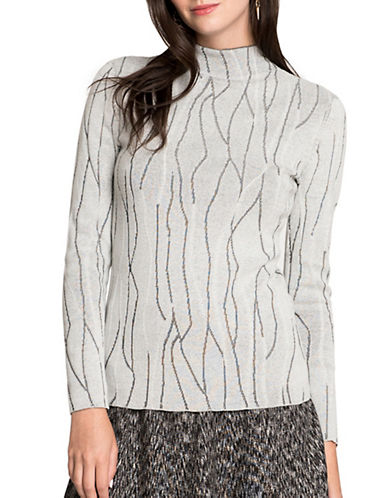 Nic+Zoe PETITE Abstract Print Sweater-WHITE-Petite Large