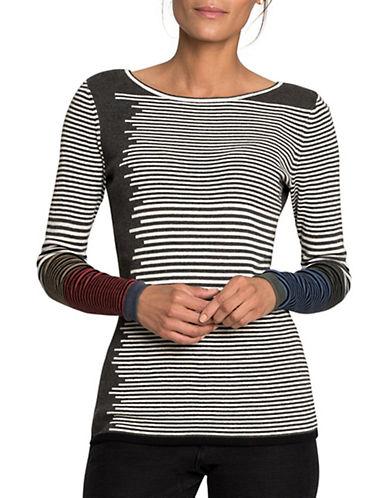 Nic+Zoe PETITE Stripe Print Sweater-MULTI-Petite X-Small