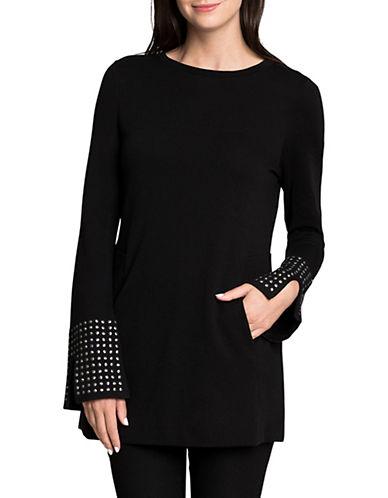 Nic+Zoe PETITE Stud Cuffs Sweater-BLACK-Petite Medium