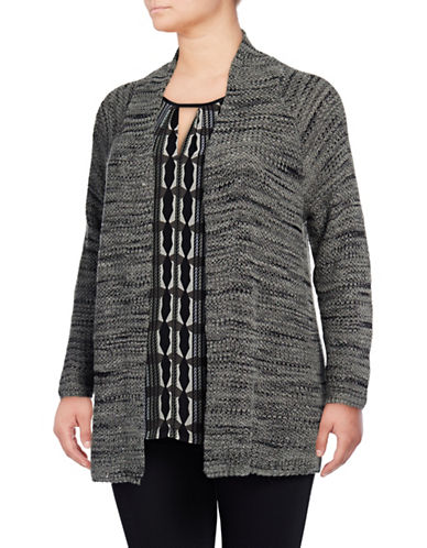 Nic+Zoe Plus Thick and Thin Marled Knit Cardigan-GREY-1X