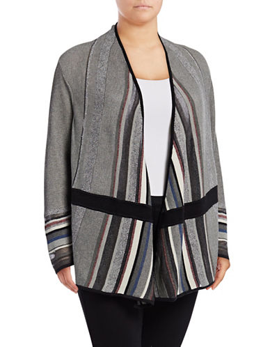 Nic+Zoe Plus Mirror Image Cardigan-GREY-1X