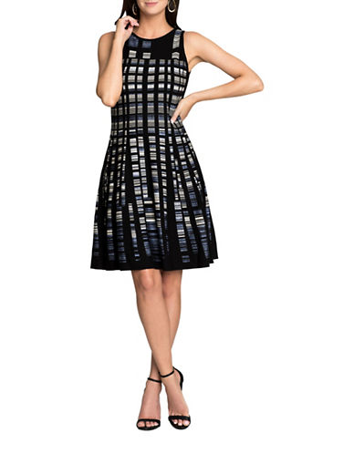 Nic+Zoe PETITE Crystal Cove Fit-and-Flare Dress-BLACK MULTI-Petite X-Small