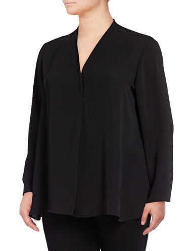 Nic+Zoe Plus Majestic Matte Blouse-BLACK ONYX-1X