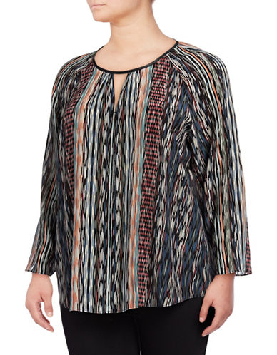 Nic+Zoe Plus Printed Silk-Blend Keyhole Top-NO COLOR-1X