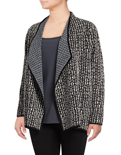 Nic+Zoe Plus Sunbloom Contrast-Stitch Cardigan-BLACK MULTI-3X