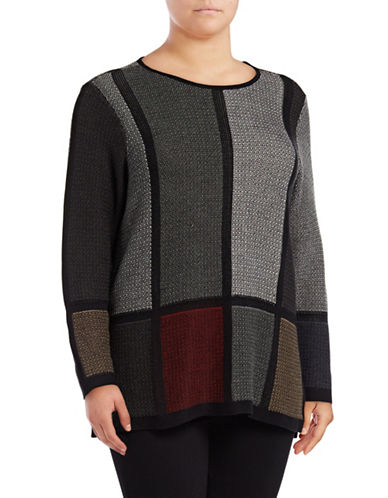 Nic+Zoe Plus Knit Colour-Block Top-MULTI-3X