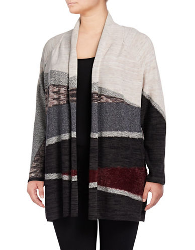 Nic+Zoe Plus Shawl Collar Cardigan-MULTI-3X