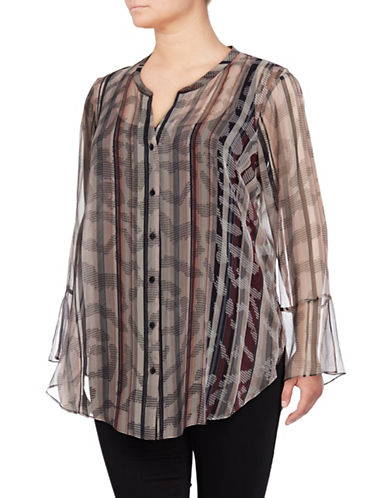 Nic+Zoe Plus Plus Drifting Tide Sheer Silk Top-MUTLI-2X