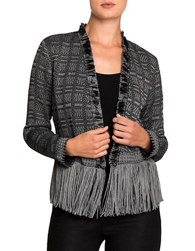 Nic+Zoe PETITE Steel Fringe Sweater Jacket-WARM GREY-Petite Small