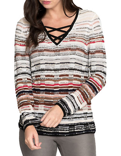 Nic+Zoe Crisscross Linen-Blend Top-MULTI-Medium