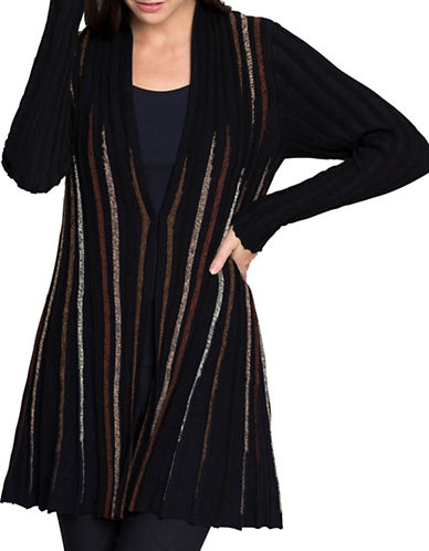 Nic+Zoe Striped Cardigan-MULTI-X-Small