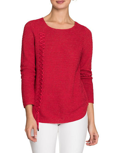 Nic+Zoe Braided Up Top-TRUE RED-Medium