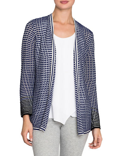 Nic+Zoe Striped Space Cardigan-ELECTRIC BLUE-Medium