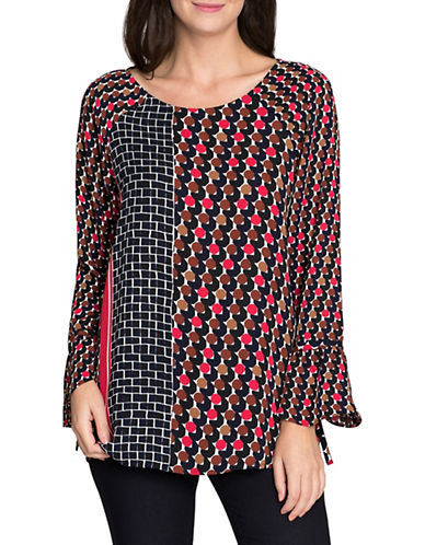 Nic+Zoe Mixed Dots Bell Sleeve Top-MULTI-X-Large