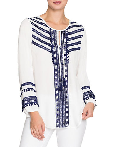 Nic+Zoe Getaway Tassel Top-PAPER WHITE-Medium