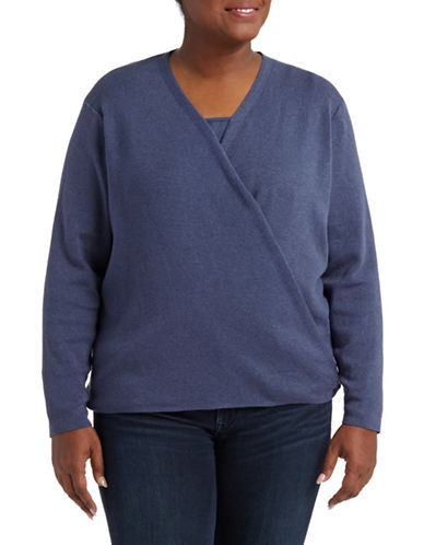 Nic+Zoe Plus Jersey-Knit Handkerchief Cardigan-BLUE-2X